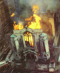 The unitarian church in fire in may 1987, by guil3433 @ Flickr